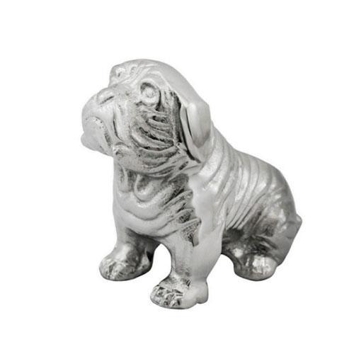 Escultura Decorativa em Cachorro de Alumínio - 13x08x15cm