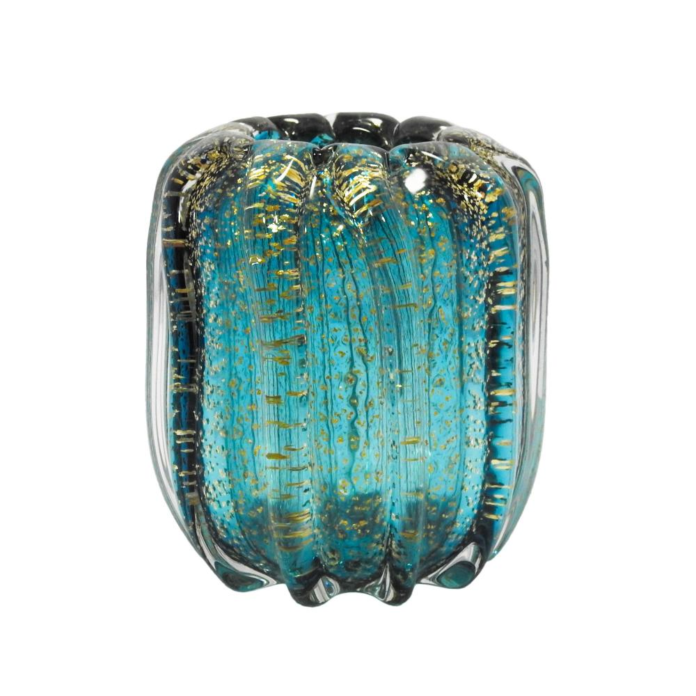 Vaso Decorativo em Murano Azul Turquesa com Detalhes em Dourado - 13x15x13cm