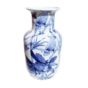Vaso Decorativo em Cerâmica com Desenhos de Pássaros Azuis - 19x30x20cm
