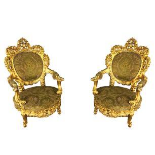 Jogo de Sofá Clássico Medalhão Luis XV 4 Poltronas
