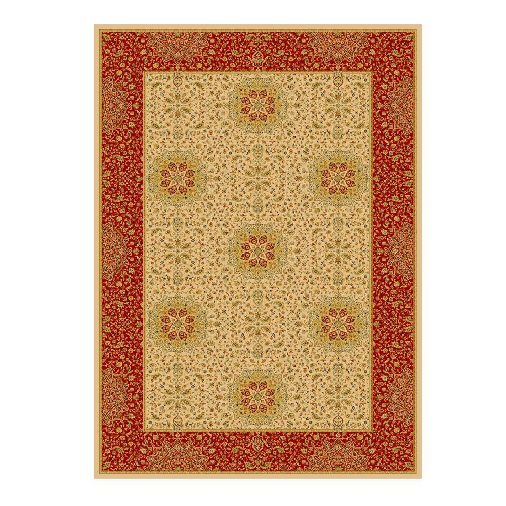 Tapete Persa com Franja Bege e Vermelho - 100x150cm