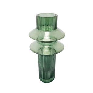 Vaso em Vidro Verde com Relevo - 32x13x13cm