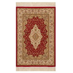 Tapete Persa Vermelho com Detalhes em Bege - 160x235cm