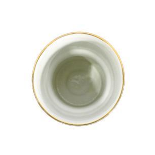 Vaso Decorativo em Porcelana Cinza com Detalhes em Dourado - 26x17x17cm