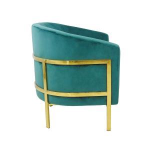 Poltrona Estilo Moderno com Estrutura em Metal Dourado e Estofado Verde - 79x69x68cm