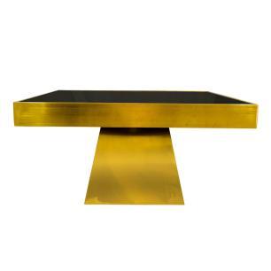 Mesa em Metal Dourado com Tampo de Vidro na Cor Preta - 42x80cm