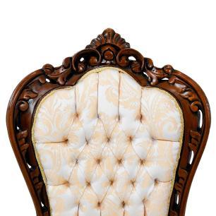 Cadeira em Madeira com Estofado Bege - 52x109x54