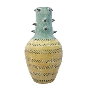 Vaso Decorativo em Cerâmica Estilo Aborigene - 47x28cm