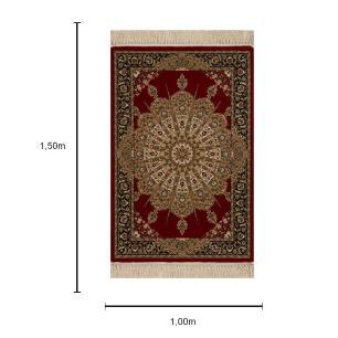 Tapete Persa Qom Vermelho com Detalhes Bege - 100x150cm