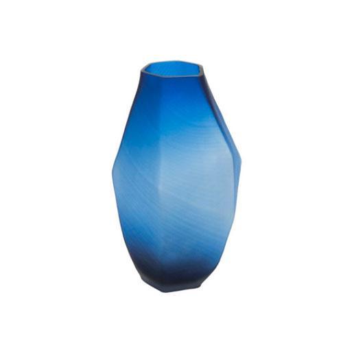 Vaso Decorativo em Vidro Azul - 32x18x18cm