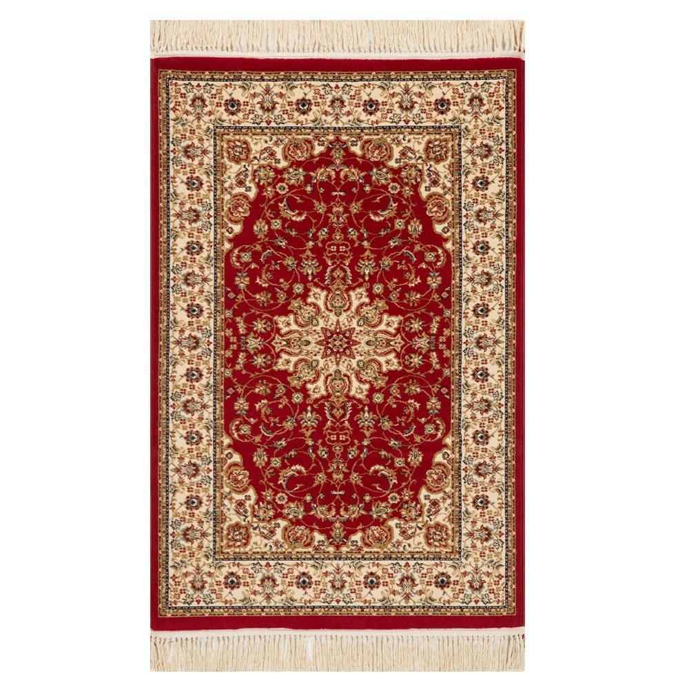 Tapete Persa Bege com Vermelho - 160x235cm