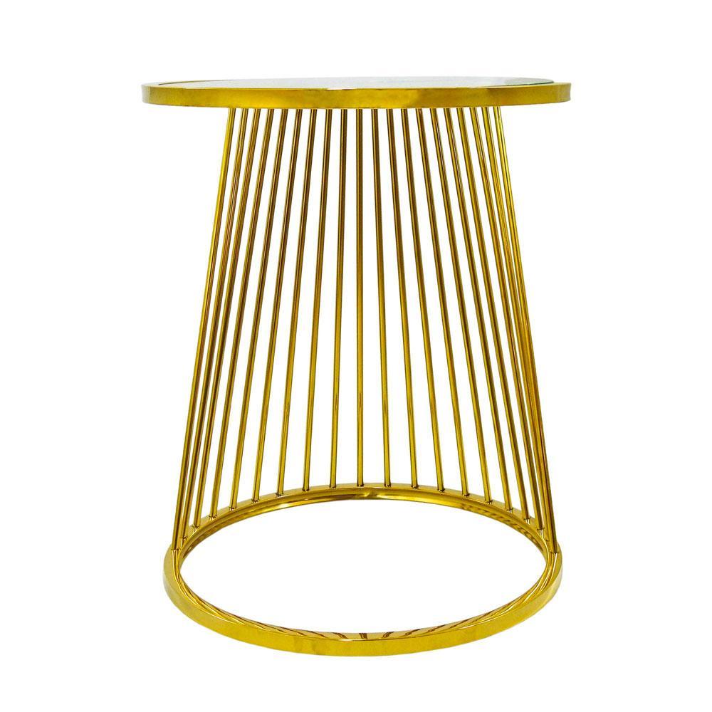 Jogo Mesas Auxiliares Dourada com Tampo de Vidro - 50x61cm