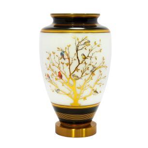 Vaso Decorativo em Vidro Branco e Preto com Detalhes Dourado - 37x21cm