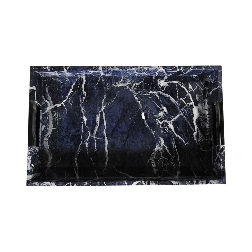 Bandeja Decorativa em Madeira com Revestimento Marmorizado Azul - 06x43x30cm