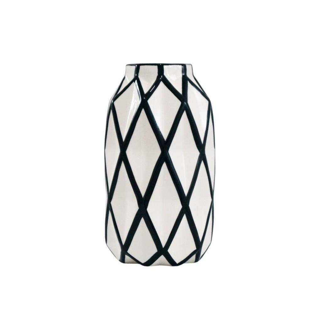 Vaso Decorativo Branco com Detalhes em Preto - 24x13x13cm