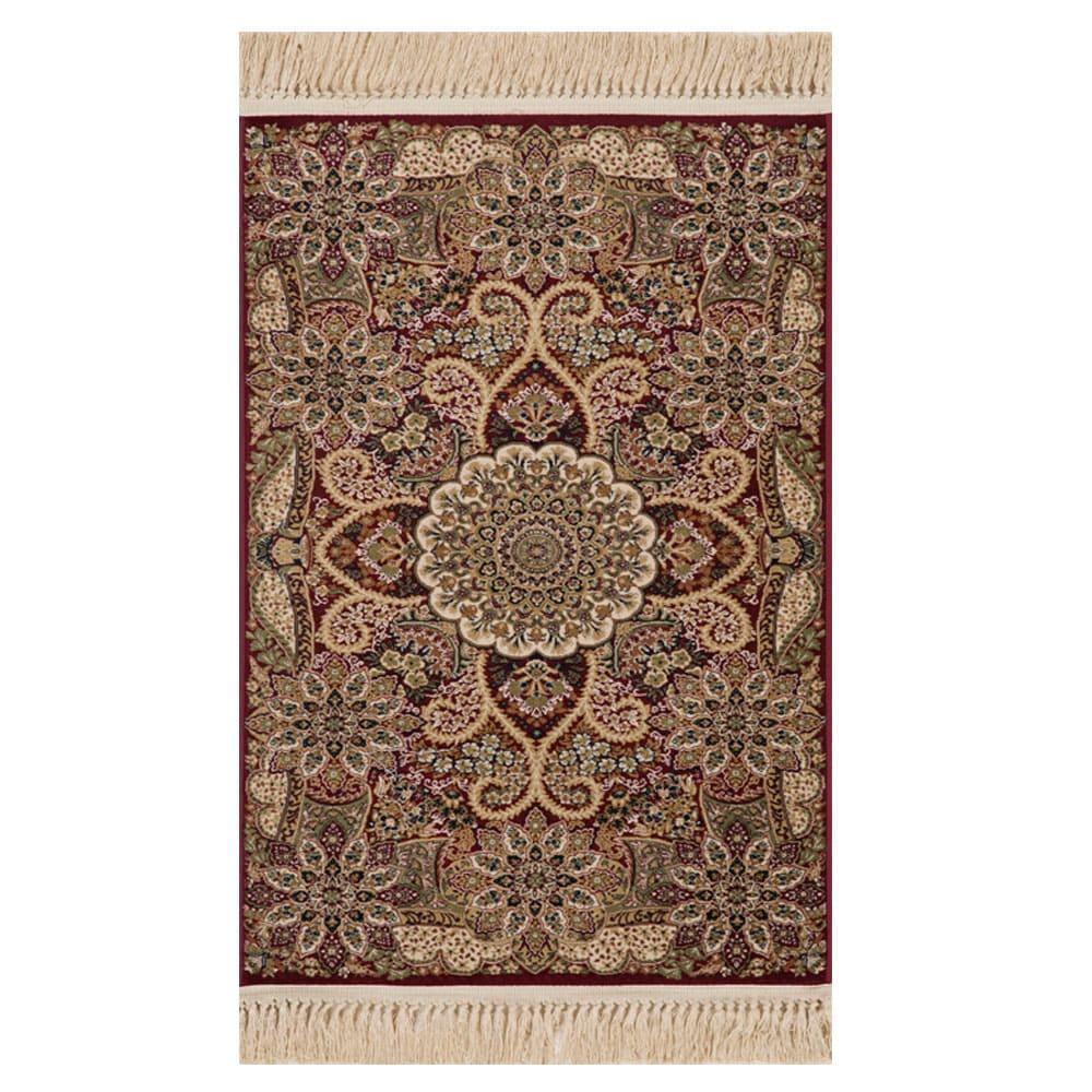Tapete Persa Isfahan Vermelho com Detalhes Florais - 240x340cm
