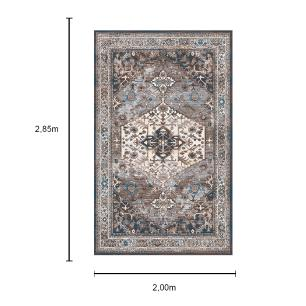 Tapete Persa com Franja Cinza e Bege - 200x285cm