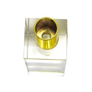 Castiçal Decorativo em Cristal Transparente  com Detalhe em Metal Dourado - 15x05cm