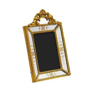 Porta Retrato Revestido em Resina Dourada - 26x16cm