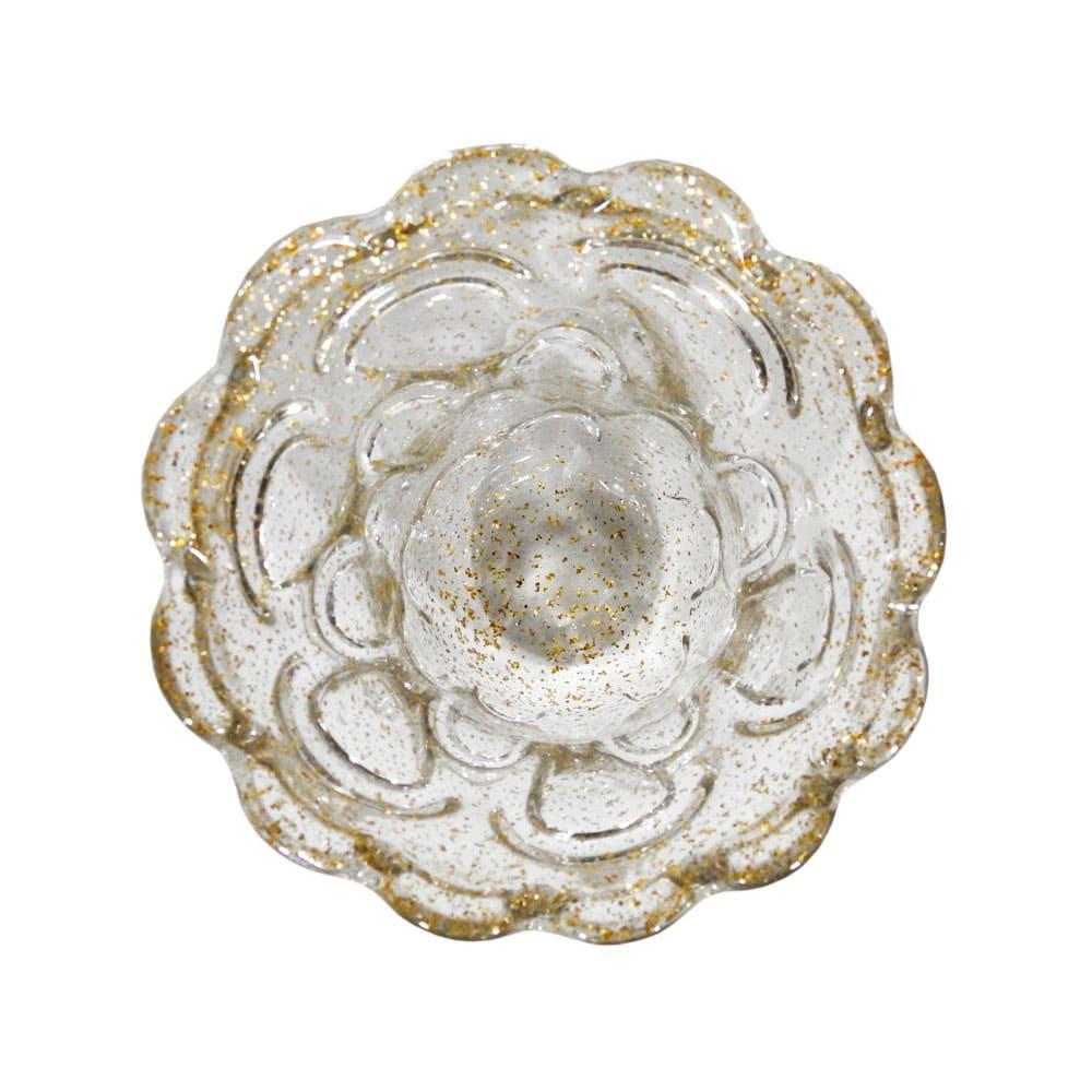 Vaso Decorativo em Murano Incolor com Detalhes em Dourado - 18x18cm