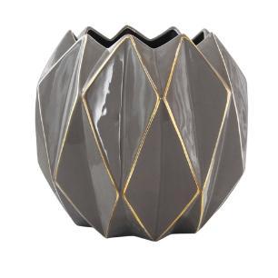 Vaso Decorativo Grande em Porcelana Marrom e Dourado