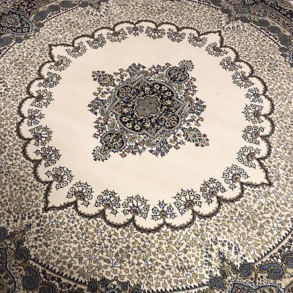 Tapete Persa Redondo Bege com Detalhes em Azul - 250x250cm