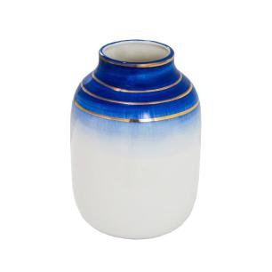 Vaso Decorativo Branco com Detalhes em Azul e Dourado - 20x14x14cm