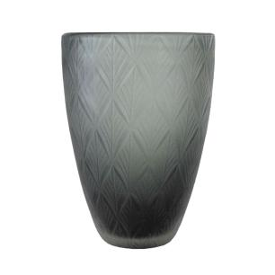 Vaso Decorativo em Vidro na Cor Cinza - 28x19cm