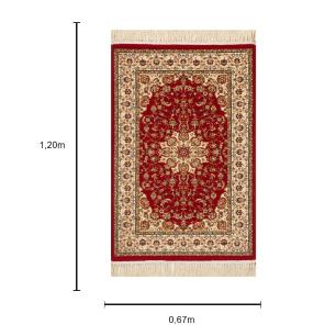 Tapete Persa Bege com Vermelho - 67x120cm