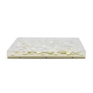 Quadro Decorativo Branco em Acrílico e Cerâmica - 60x60cm