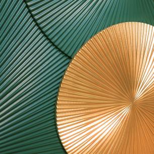 Quadro de Escultura Dourado e Verde em Acrílico - 85x135cm