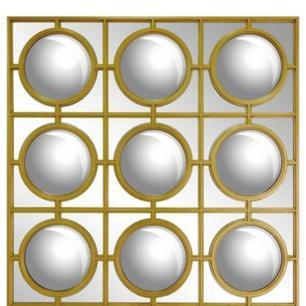 Espelho Retangular Estilo Olho de Peixe com Moldura Folheada a Ouro - 136x101cm