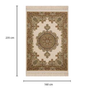 Tapete Persa Kerman Bege com Detalhes em Verde - 160x235cm
