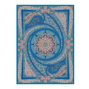 Tapete Persa com Franja Azul Medalhão Floral - 160x235cm