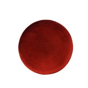 Puff com Base em Metal e Estofado em Veludo Vermelho - 44x39cm
