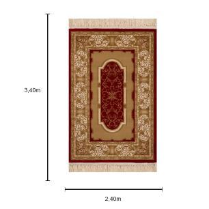 Tapete Persa Vermelho com Detalhes Bege - 240x340cm