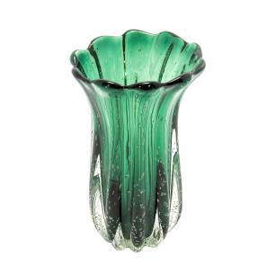 Vaso em Murano Verde com Detalhes - 15x24x15cm