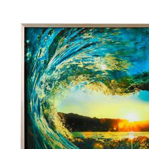 Quadro Decorativo em Vidro com Paisagem da Onda  - 80x80cm