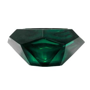 Vaso em Vidro Murano na Cor Verde - 12x9x12cm
