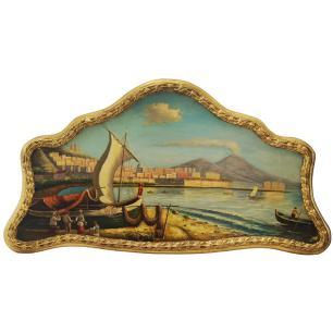 Quadro Moldura Dourada Barco no Caiz - 50x90cm