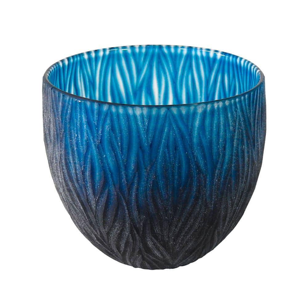 Vaso Decorativo em Vidro na Cor Azul - 20x22cm
