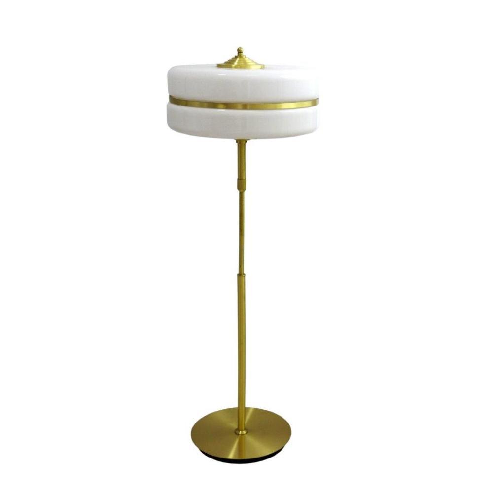 Abajur em Metal Dourado com Cúpula com ajuste de altura em Vidro  - 115x40x40cm