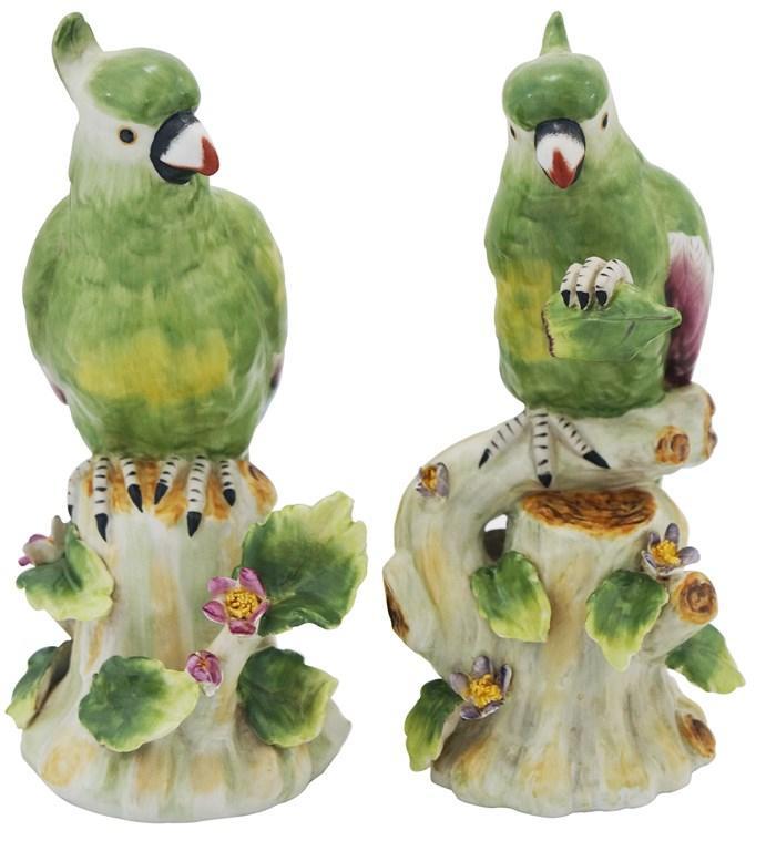 Par de Cacatua em Porcelana Verde - 23x11cm