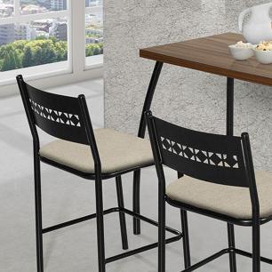 Mesa com duas cadeiras Fit flora Preto e Bege