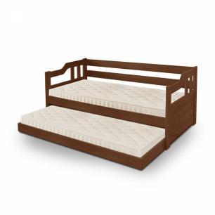 Sofá cama solteiro de madeira maciça com cama auxiliar Atraente Noce