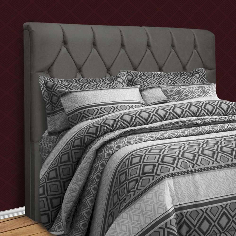 Cabeceira King Size com capitonê para cama box sued liso Paris Cinza