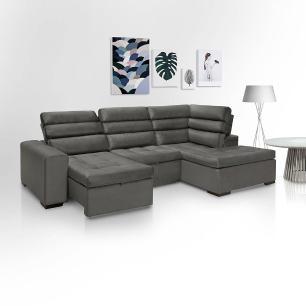 Sofa de Canto retratil e reclinavel com chaise Porto Chumbo A88