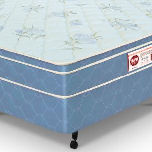 Cama box + colchão Casal Castor Espuma D45 Sleep Max 25cm Azul 128
