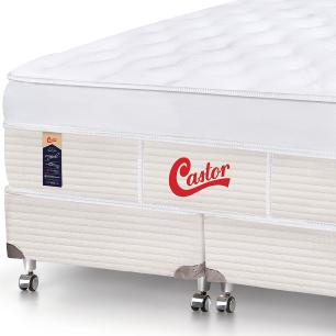 Cama box + Colchão Queen Size Castor Gold Star Vitagel One face Max 158 x 198 x 80