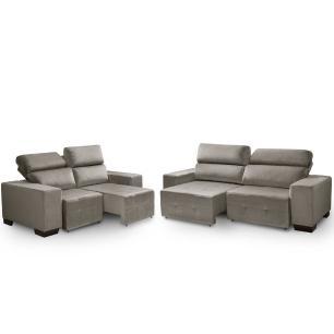 Sofa retratil e reclinavel 2 e 3 lugares Viena Cinza A75